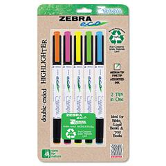 Zebra Eco Zebrite Double-Ended Highlighter, Chisel/Fine Point Tip, 5/Set