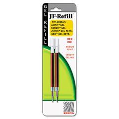 Zebra JF Refill for Jimnie Gel RT/Sarasa/Z-Grip Gel Roller Ball, Med, Red, 2/Pack