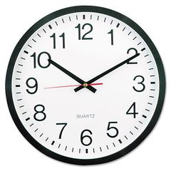 "Round Wall Clock, 12 5/8"" dia., Black"