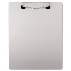 "Universal Plastic Brushed Aluminum Clipboard, 1/2"" Capacity, Holds 8 1/2 x 11"