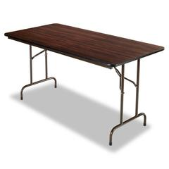Wood Folding Table, Rectangular, 60w x 29 3/4d x 29h, Walnut