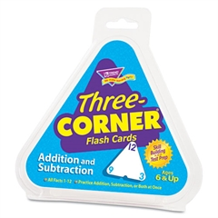 TREND Addition/Subtraction Three-Corner Flash Cards, 6 & Up, 48/Set