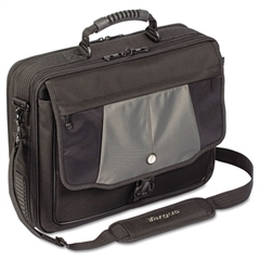 "Targus Blacktop 17"" Deluxe Laptop Case, Polyester, 18-1/2 x 5-1/2 x 16-1/4, Black"