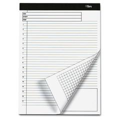 TOPS Docket Gold Planning Pad, Ruled, 8 1/2 x 11 3/4, White, 40 Sheets, 4 Pads/Pack