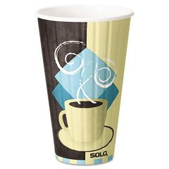 Duo Shield Insulated  Paper Hot Cups, 16 oz, Tuscan Chocolate/Blue/Beige, 525/Ct