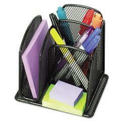 Safco Onyx Mini Organizer with Three Compartments, Black, 6 x 5 1/4 x 5 1/4
