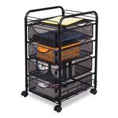 Safco Onyx Mesh Mobile File With Four Supply Drawers, 15-3/4w x 17d x 27h, Black