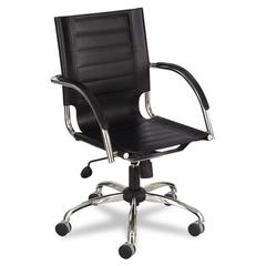 Flaunt Series Mid-Back Manager's Chair, Black Leather/Chrome