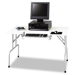 Safco Folding Computer Table, Rectangular, 47 1/2w x 29 3/4d x 28 3/4h, Light Gray