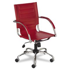 Flaunt Series Mid-Back Manager's Chair, Red Leather/Chrome