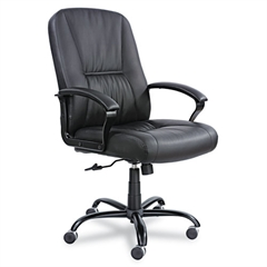 Safco Serenity Big & Tall Leather Series High-Back Chair, Black Leather