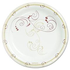 """SOLO Cup Company Symphony Paper Dinnerware, Mediumweight Plate, 8 1/2"""" Round, Tan, 125/Pack"""