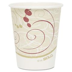 SOLO Cup Company Hot Cups, Symphony Design, 10oz, Beige, 1000/Carton