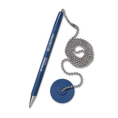 Industries Secure-A-Pen Ballpoint Antimicrobial Counter Pen with Base, Blue Ink, Medium