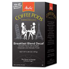 Coffee Pods, Breakfast Blend Decaf, 18 Pods/Box