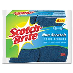 Scotch-Brite Non-Scratch Multi-Purpose Scrub Sponge, 4 2/5 x 2 3/5, Blue, 6/Pack