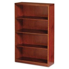 Mayline Mira Series Wood Veneer Four-Shelf Bookcase, 34-1/2w x 12d x 68h, Medium Cherry