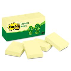 Post-it Greener Note Pads, 1 1/2 x 2, Canary Yellow, 100-Sheet, 12/Pack