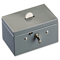 Small Cash Box with Coin Slot, Disc Lock, Gray