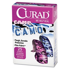 """Curad Kids Adhesive Bandages, Pink and Blue Camouflage, 3/4"""" x 3"""", 25/Box"""
