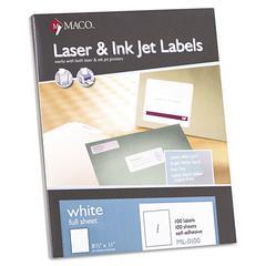 White Laser/Inkjet Full-Sheet Identification Labels, 8 1/2 x 11, White, 100/Box