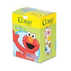 "Curad Kids Adhesive Bandages, Sesame Street, 3/4"" x 3"", 100/Box"