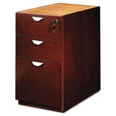 Mayline Mira Series Box/Box/File Desk Pedestal, 15w x 28d x 27¾h, Medium Cherry