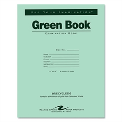 Roaring Spring Green Books Exam Books, Stapled, Wide Rule,11 x 8 1/2, 8 Sheets/16 Pages