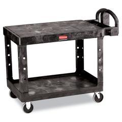 Rubbermaid Commercial Flat Shelf Utility Cart, Two-Shelf, 25-1/4w x 44d x 38-1/8h, Black