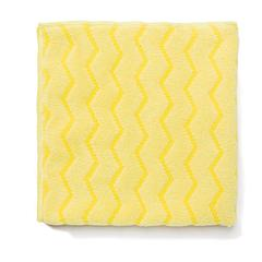 Rubbermaid Commercial Reusable Cleaning Cloths, Microfiber, 16 x 16, Yellow, 12/Carton