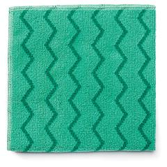 Rubbermaid Commercial Reusable Cleaning Cloths, Microfiber, 16 x 16, Green, 12/Carton