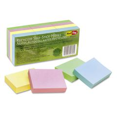 Redi-Tag 100% Recycled Notes, 1 1/2 x 2, Four Pastel Colors, 12 100-Sheet Pads/Pack