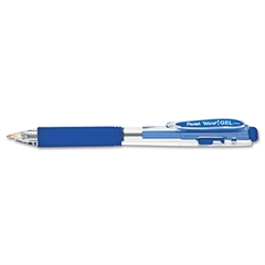 WOW! Retractable Gel Pen, .7mm, Trans Barrel, Blue Ink, Dozen