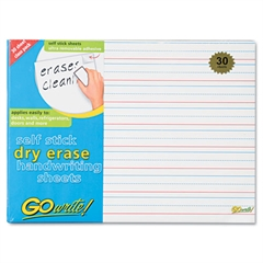 GoWrite Dry Erase Handwriting Sheets, 8 1/4 x 11, Lined, 30 Sheets
