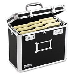 Vaultz Locking File Tote Storage Box, Letter, 13-3/4 x 7-1/4 x 12-1/4, Black