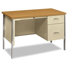 HON 34000 Series Right Pedestal Desk, 45 1/4w x 24d x 29 1/2h, Harvest/Putty