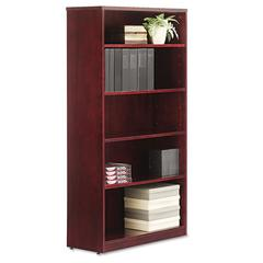 Verona Veneer Series Bookcase, Five-Shelf, 35-1/2w x 14d x 66h, Mahogany