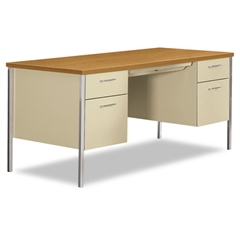34000 Series Double Pedestal Desk, 60w x 30d x 29 1/2h, Harvest/Putty
