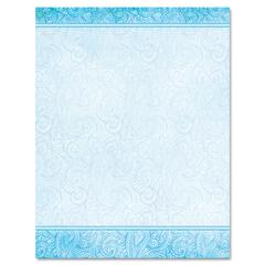 Design Suite Paper, 24 lb, Aqua Paisley, 8 1/2 x 11, 100/Pack