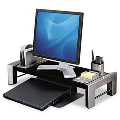 Fellowes Professional Series Flat Panel Workstation, 25 7/8 x 11 1/2 x 4 1/2,Black/Silver