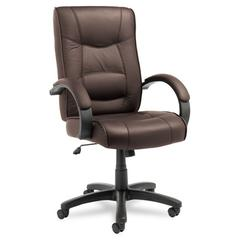 Alera Strada Series High-Back Swivel/Tilt Chair, Brown Top-Grain Leather