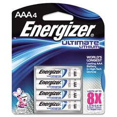 Lithium Batteries, AAA, 4/Pack