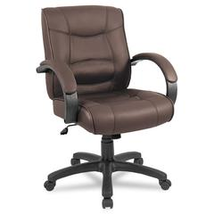 Alera Alera Strada Series Mid-Back Swivel/Tilt Chair w/Brown Top-Grain Leather
