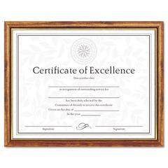 DAX Two-Tone Document/Diploma Frame, Wood, 8 1/2 x 11, Maple w/Gold Leaf Trim