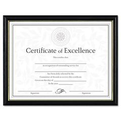 DAX Two-Tone Document/Diploma Frame, Wood, 8 1/2 x 11, Black w/Gold Leaf Trim