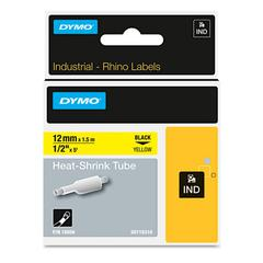 "Rhino Heat Shrink Tubes Industrial Label Tape, 1/2"" x 5 ft, White/Black Print"