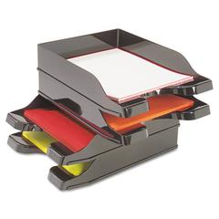 deflecto Docutray Multi-Directional Stacking Tray Set, Two Tier, Polystyrene, Black