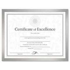 DAX Value U-Channel Document Frame w/Certificates, 8 1/2 x 11, Silver
