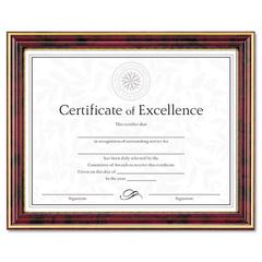 DAX Gold-Trimmed Document Frame w/Certificate, Wood, 8 1/2 x 11, Mahogany