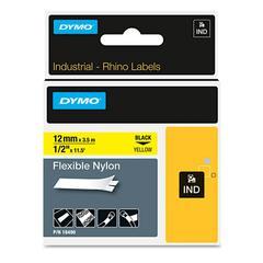 "Rhino Flexible Nylon Industrial Label Tape, 1/2"" x 11 1/2 ft, Yellow/Black Print"